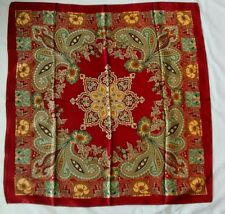 Red Gold Paisley Floral Ornate Satin Square Scarf
