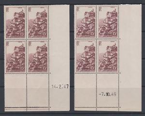 FRANCE-2-BLOCS-DE-4-COIN-DATE-CD-1946-ET-1947-YT-763-ROCAMADOUR-N-MNH-COTE-60