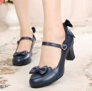 Japanese-Lolita-student-cute-bow-jk-high-heels-women-039-s-shoes-Cosplay-girls-pump