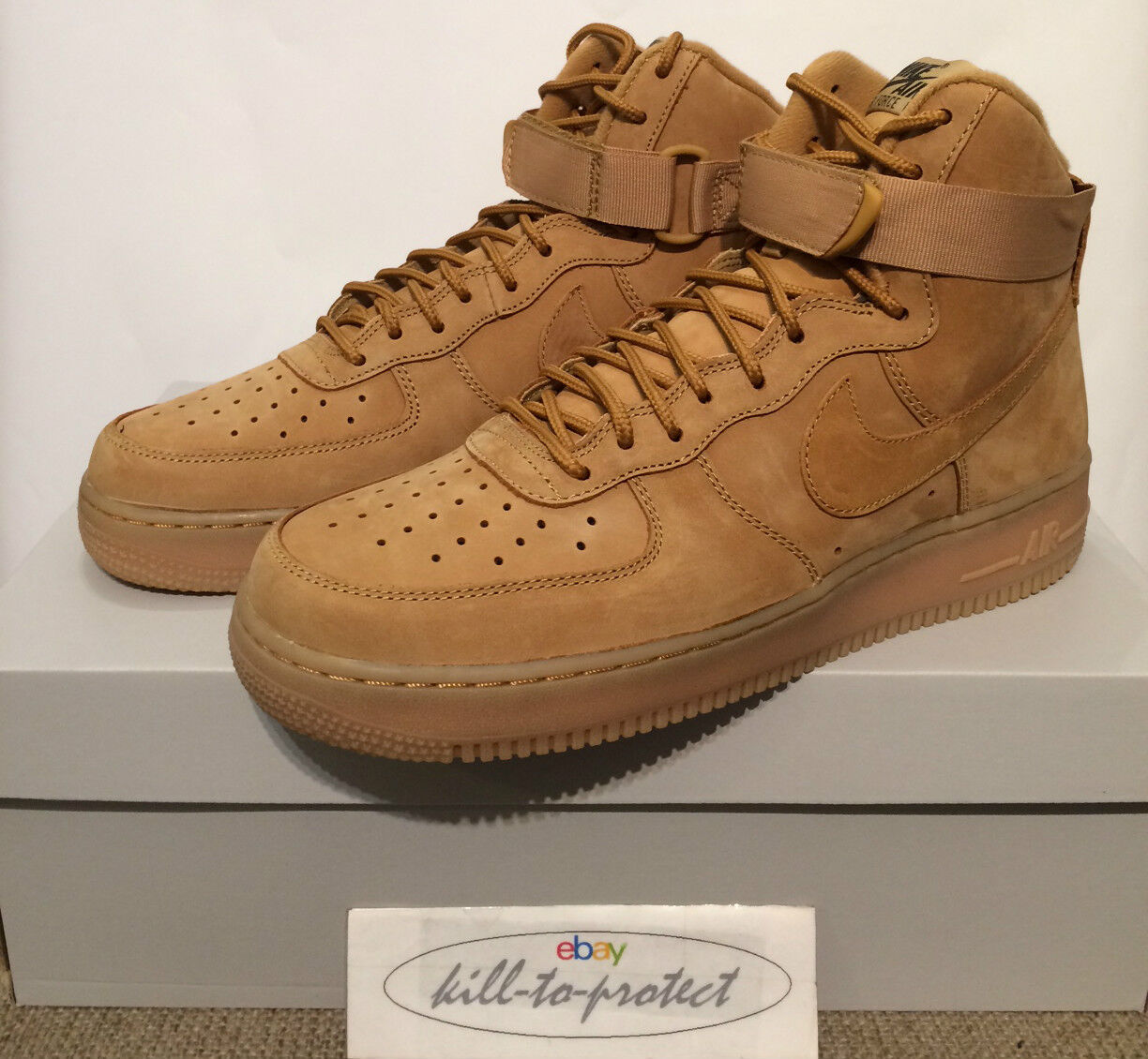 NIKE AIR FORCE ONE HIGH '07 WHEAT US UK7 8 9 10 11 Brown QS 806403-200 Flax 2015