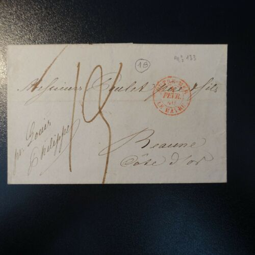 LETTER COVER NEW YORK CAD RED OUTRE SEA LE HAVRE 1840 PAR LOUIS PHILIPPE