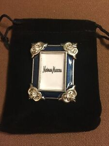 "Jay Strongwater Miniature Jeweled Frame 1 1/4""x2"" Black Velvet Drawstring Bag"