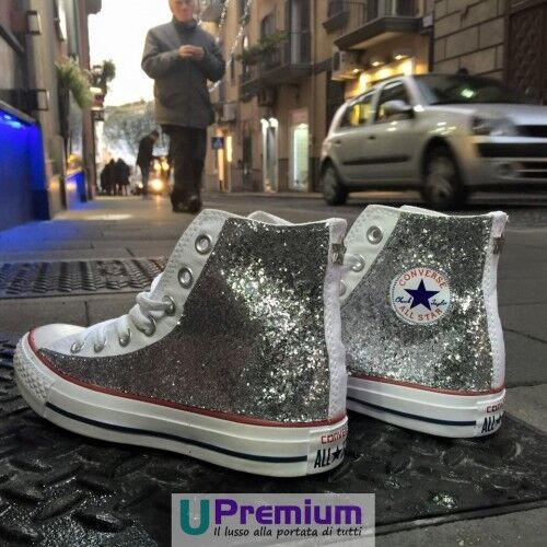Converse All Star Glitter White Silver Stella [Product Customized] Shoes