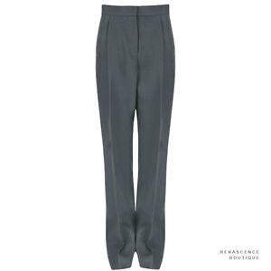 Stella-McCartney-Dark-Sage-Green-Single-Pleat-Wide-Leg-Trousers-Pants-IT42-UK10