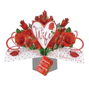 Darling Wife On Valentine S Day Pop Up Roses Greeting Card 3d Pop Up
