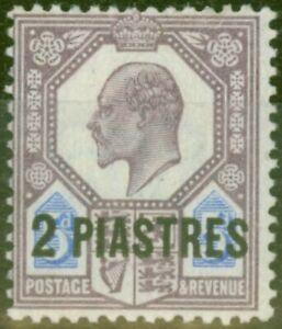 British Levant 1905 2pi on 5d Dull Purple & Ultramarine SG14 Fine Mtd Mint