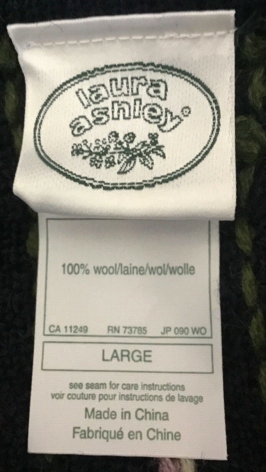 Vintage Laura Ashley 90s Floral 100% Wool Embroid… - image 9