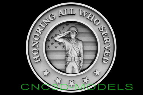 3D STL Models for CNC Router Carving Artcam Aspire USA Soldier Army Salute D661