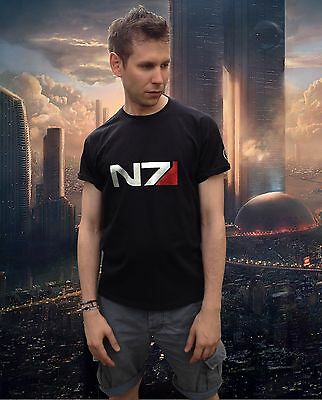 Mass Effect N7 Alliance Tribute Gamer Gift Metallic Print T-Shirt Mens Black