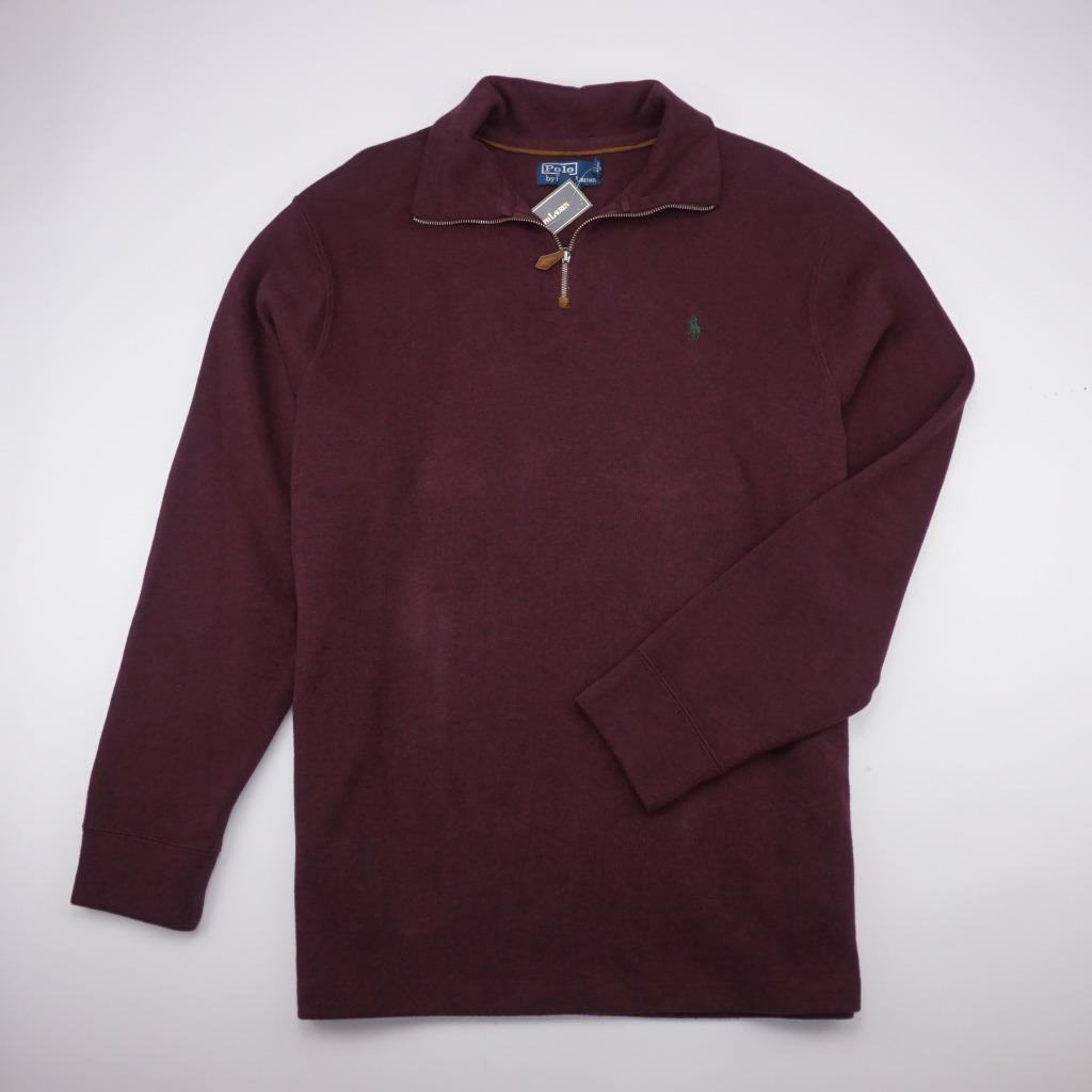 POLO RALPH LAUREN NEW Cotton Quarter Zip Polo Sweater Long Sleeve Maroon  Herren L