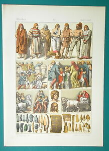 COSTUME-of-Ancient-Germans-Warriors-Roman-Attack-1883-Color-Litho-Print