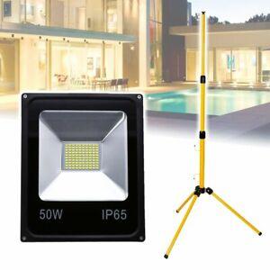50W-LED-Flutlicht-Strahler-IP65-Fluter-Aussenlampe-Mit-Teleskop-Stativ-Warmweiss