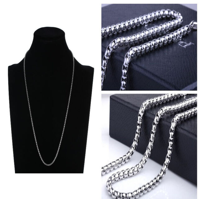 "Hot Sale 2MM Silver 20"" Stainless Steel Pearl Necklace  Long Chain Fashion Gift"