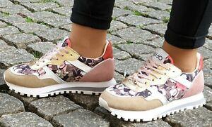 LIU-JO-Schuhe-WONDER-2-0-Flower-Camou-Leder-Textil-Sneaker-Neu-Made-in-Italy