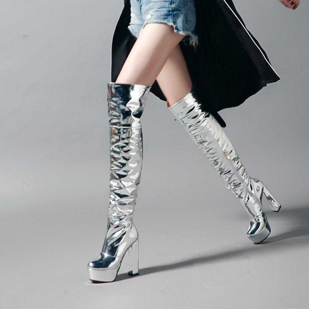 Womens Roma Patent Leather Block High Heel Knee High Boots Shoes Pumps Zipper
