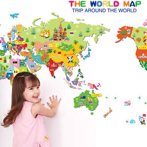 Animals world map vinyl art wall sticker decals baby kids learning image is loading animals world map vinyl art wall sticker decals gumiabroncs Choice Image