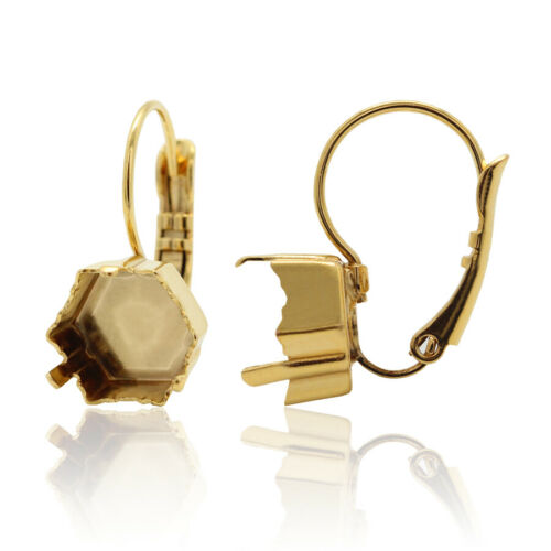 Brass Leverback Earring Bases for 4699 Kaleidoscope Hexagon Fancy Crystals