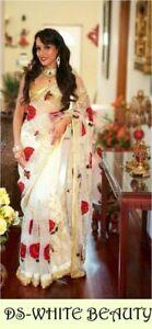 White-Madhuri-Saree-Designer-Net-Sari-Indian-Embroidery-Bollywood-Lehenga-Choli