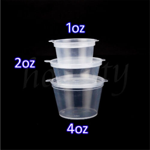 1oz 2oz 4oz Clear Plastic Containers Tubs with Attached Lids Food Safe Takeaway