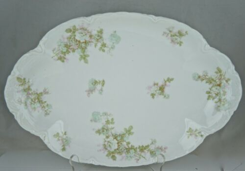 ANTIQUE LIMOGES HAVILAND FRANCE SERVING TRAY PLATTER BRETAGNE PINK GREEN ROSES