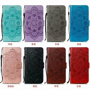 Fashion-Flower-Flip-Stand-Leather-Wallet-Card-Slot-Anti-fall-Phone-Case-Strap