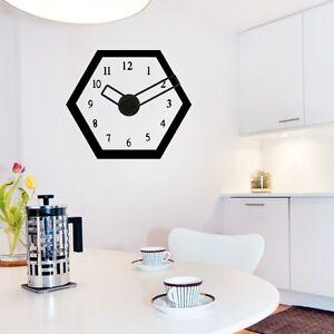 sticker mural horloge g ante design hexagonal avec m canisme aiguilles ebay. Black Bedroom Furniture Sets. Home Design Ideas