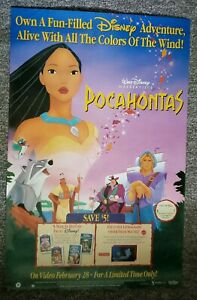 Pocahontas 1995 Gibson Hunt Bale Disney Litho Vhs Video Promo Rare Canada Poster Ebay