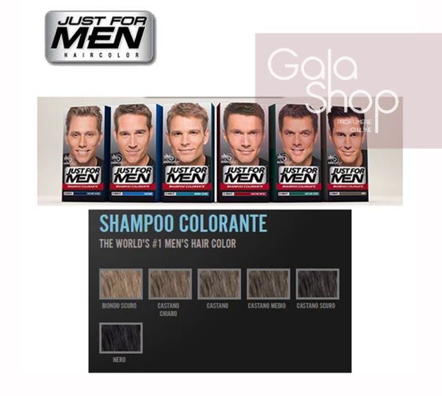 JUST FOR MEN SHAMPOO COLORANTE ANTIGRIGIO VARI COLORI APPLICAZIONE 5 MINUTI 7aaf80f768b9