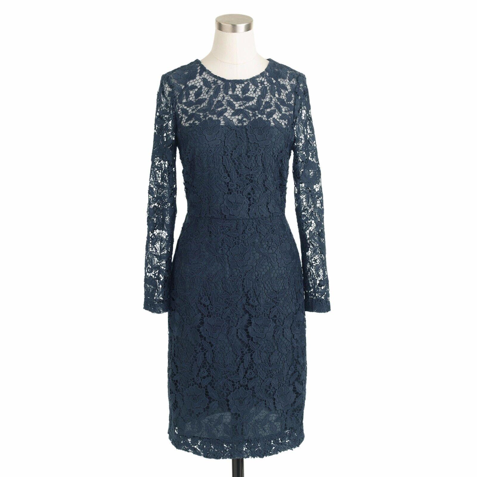 NWT JCREW FLORAL LACE SHIFT DRESS 0 XS DARK GRAVEL