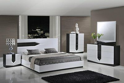 Modern White/Gray Glossy Lacquered 5 Piece Queen Bedroom Set