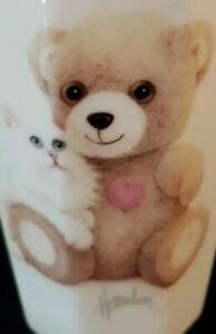 OTAGIRI VASE BOB HARRISON DESIGN WHITE PERSIAN CAT KITTEN W TEDDY BEAR JAPAN