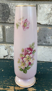 "Vintage 8"" Beautiful Norleans Floral Porcelain Pink Bud Vase Hand Painted 1960s"