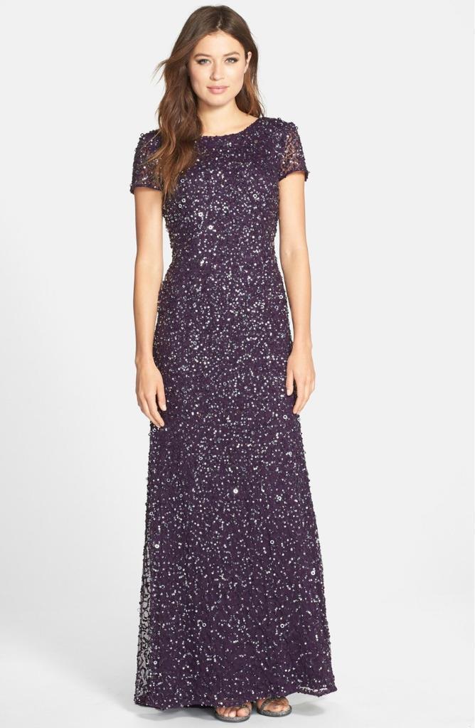 Adrianna Papell Short Sleeve Sequin Mesh Gown-Amethyst- Größe 4 (F)