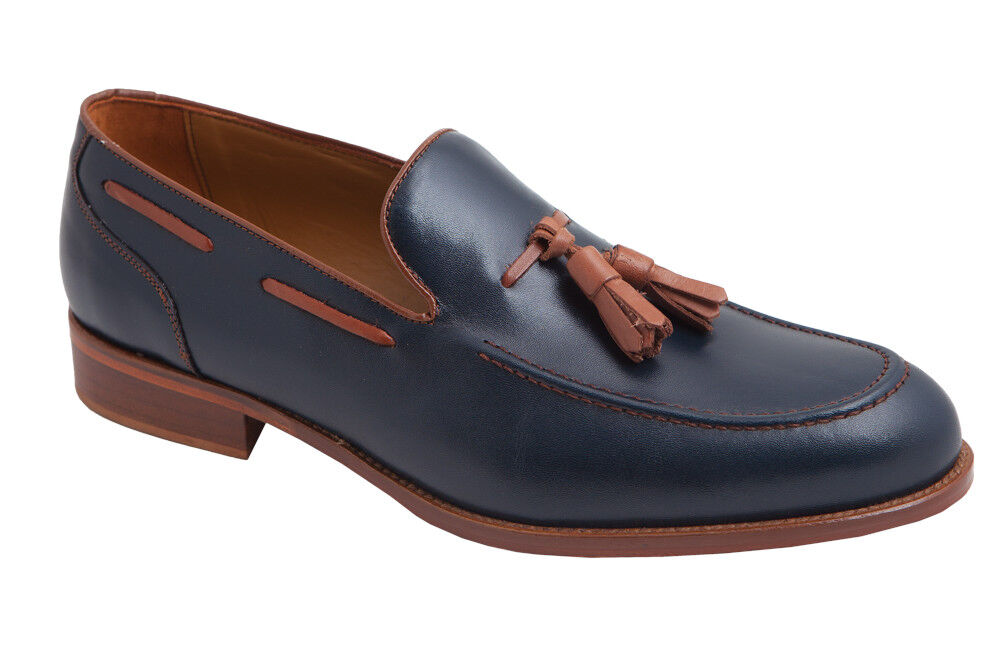 Mens Tassel Loafers shoes Leather bluee Oxblood Brown UK Size 6 7 8 9 10 11 Spain
