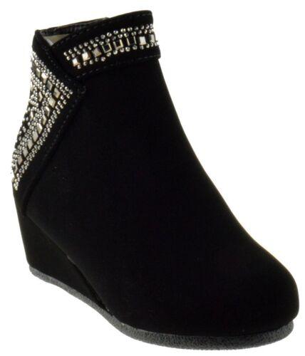 Girls Children Cute Wedge Rhinestone Side Zipper Ankle Booties Link Norita 71K