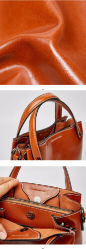 New Women Work Solid Cowhide Leather Handbags Small Tote Shoulder Crossbody Bag