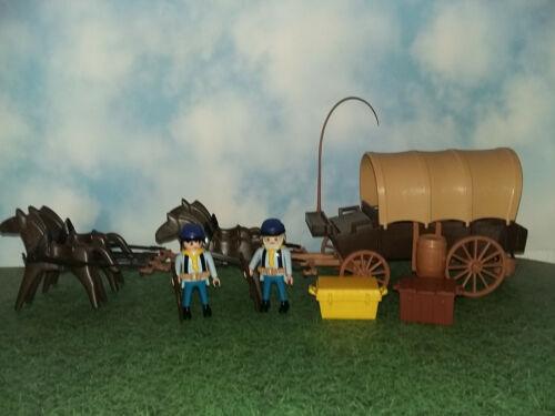 Playmobil Western Planwagen Nordtaatler ACW mit 2 Figuren 4 spännig und Zubehör