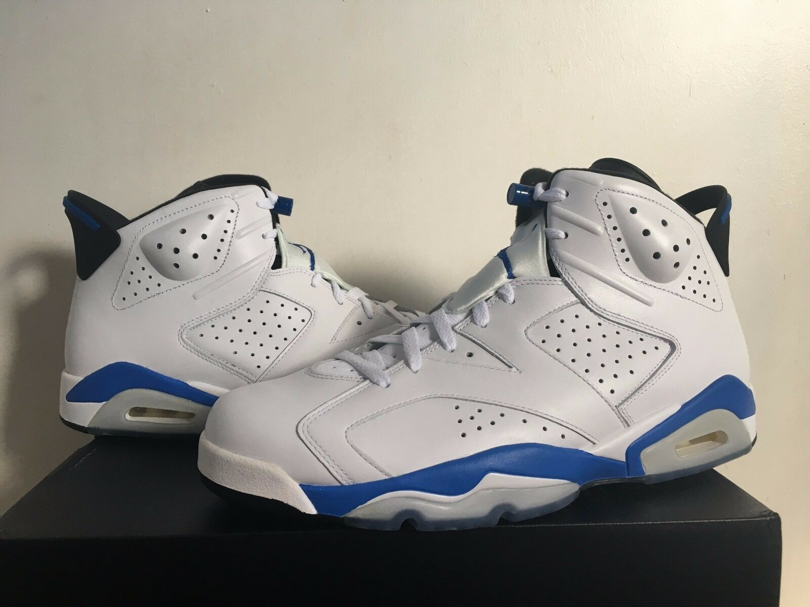Nike Air Jordan 6 Retro VI White Sport bluee 384664 107 New Size 13 B Grade