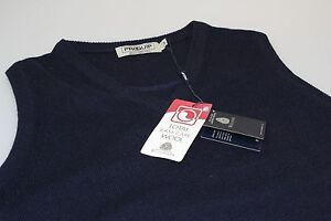 Proquip-Lambswool-Easy-Care-Wool-Golf-V-Neck-Slip-Over-Navy-Blue-S-M-L-10-18