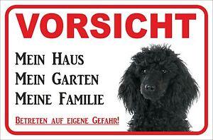 Mein Haus Zielsetzung Schild Vorsicht 15x20 O Schwarzer Pudel 20x30cm Hund S0883