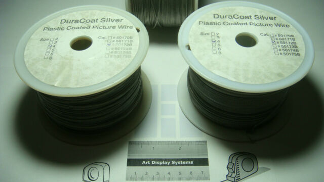 SAMPLES DURACOAT SILVER STAINLESS STEEL #8 PLASTIC COATED 125 FT SPOOL 100 LBS