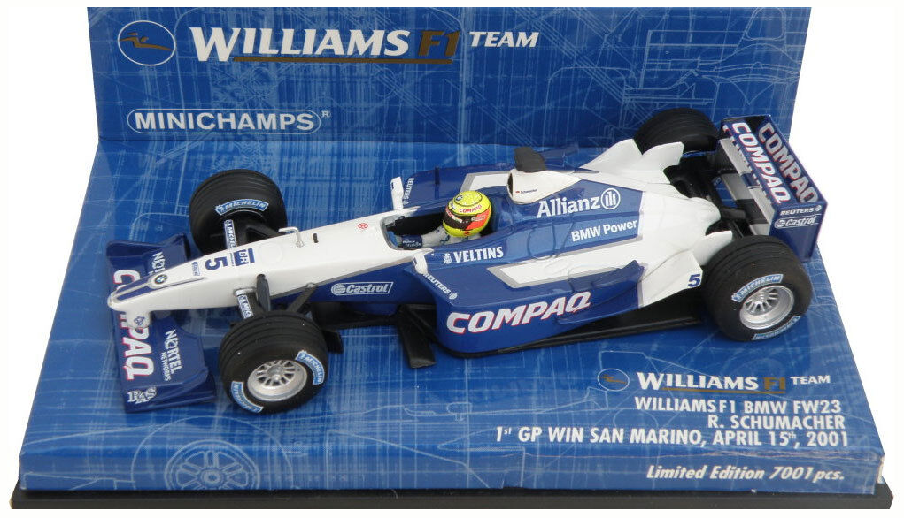 Minichamps williams FW23 1st win san marino gp 2001-ralf schumacher 1/43 | Authentique