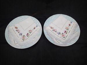 2-Decorative-Vintage-Majolica-Napkin-Plate-Blue-with-Floral-Designs-8-1-4-034-034