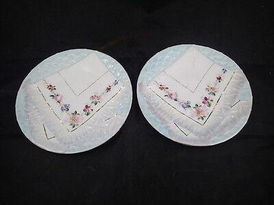 "2 - Decorative Vintage Majolica Napkin Plate Blue With Floral Designs 8 1/4"""" Fragrant (In) Flavor"