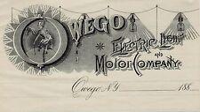 RARE Billhead Owego Electric Light  Motor Company 1880 Great Graphic Advertising