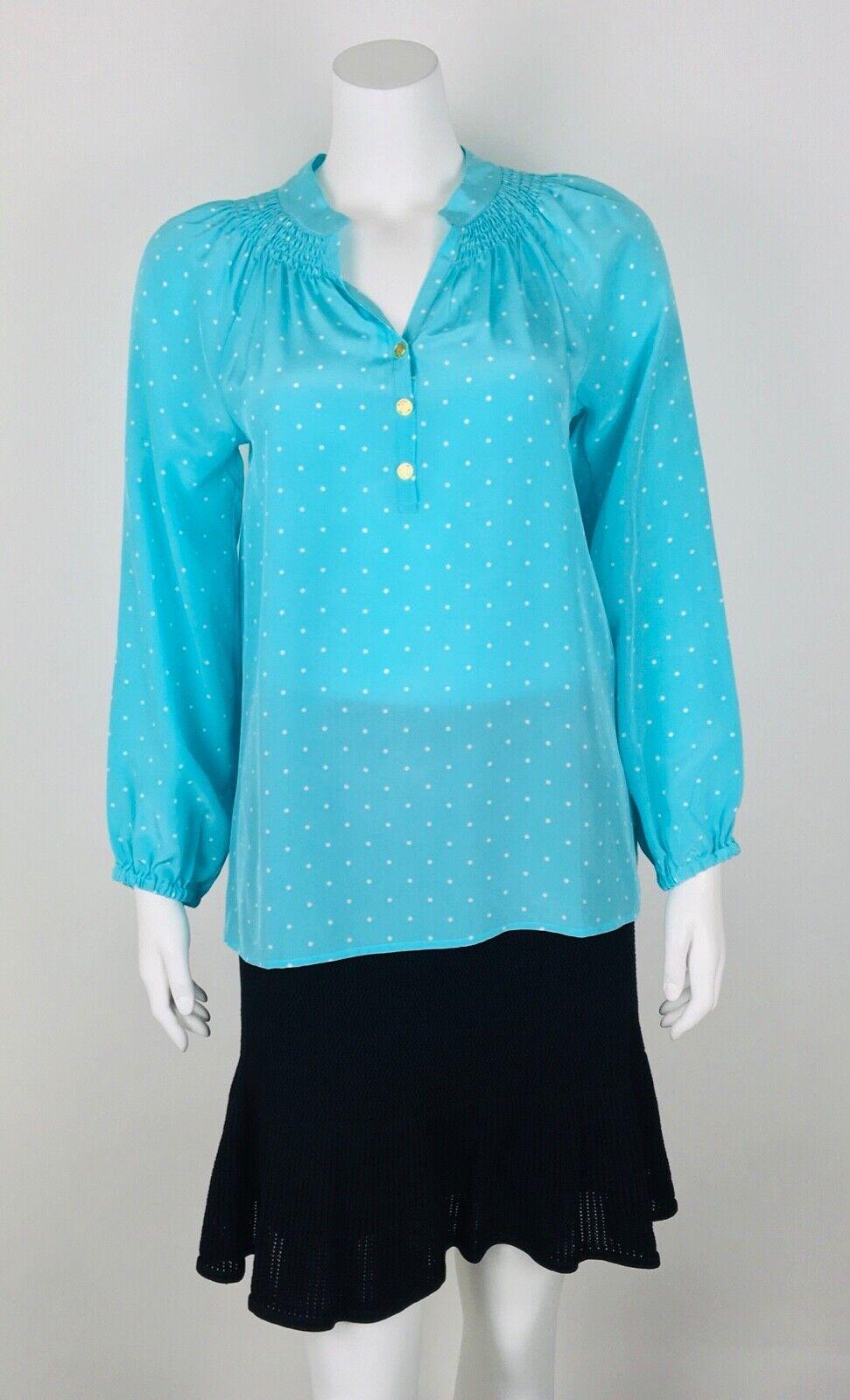 Lilly Pulitzer Femme Elsa Haut Neuf Avec Étiquettes  158 100% soie pois turquoise XS