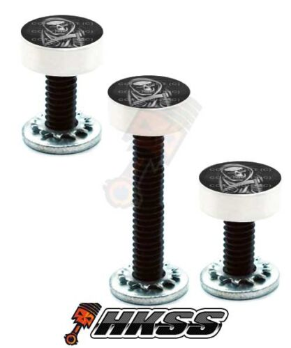 REAPER SKULL BW Y5A 3 Silver Billet Vent Windshield Bolts For 14-Up Harley