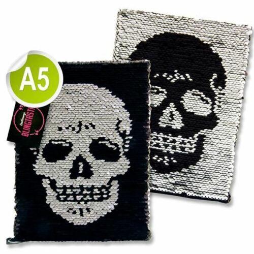 Skull Blingtastic A5 Glitter Sequin Reverse Colour Changing Notebook