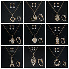 New Bridal Wedding Jewellery Gold Rhinestone Crystal Necklace Earrings Ring Set
