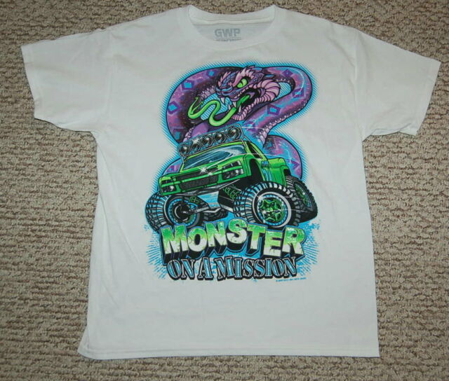 bd3361d4d Boys S/S Tee Shirt WHITE Monster Truck PURPLE GREEN COBRA Snake SIZE XL 14